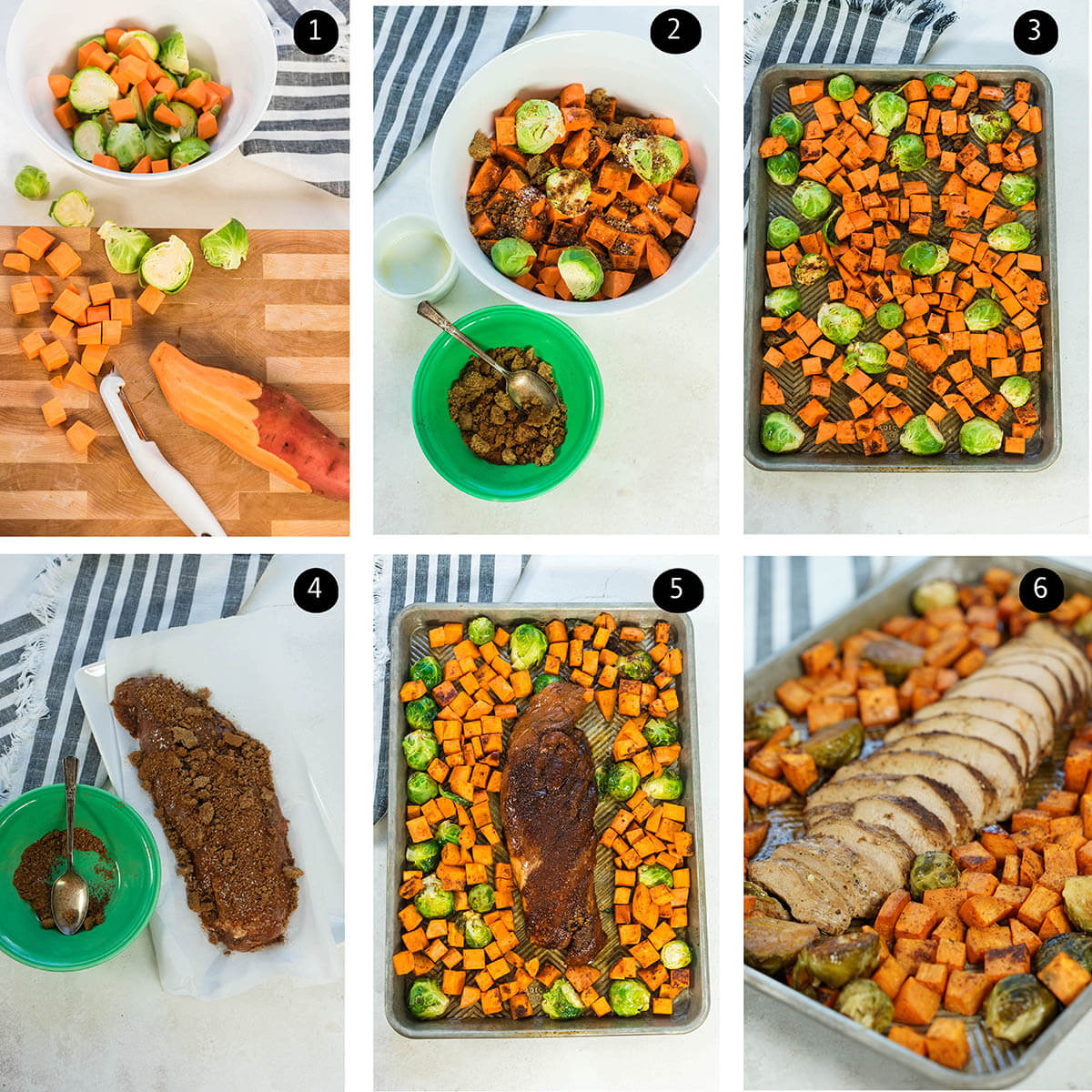 Step by step instructions to make sheet pan meal.