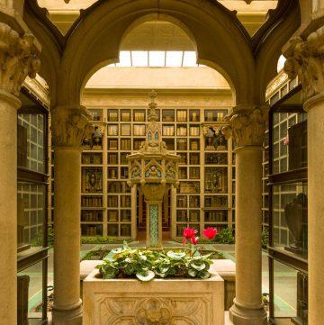 Beautiful Library with granite pillars.