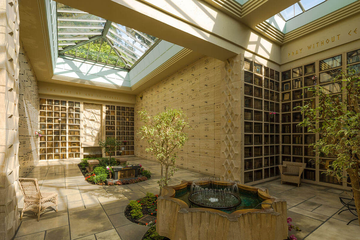 Atrium with beige granite walls