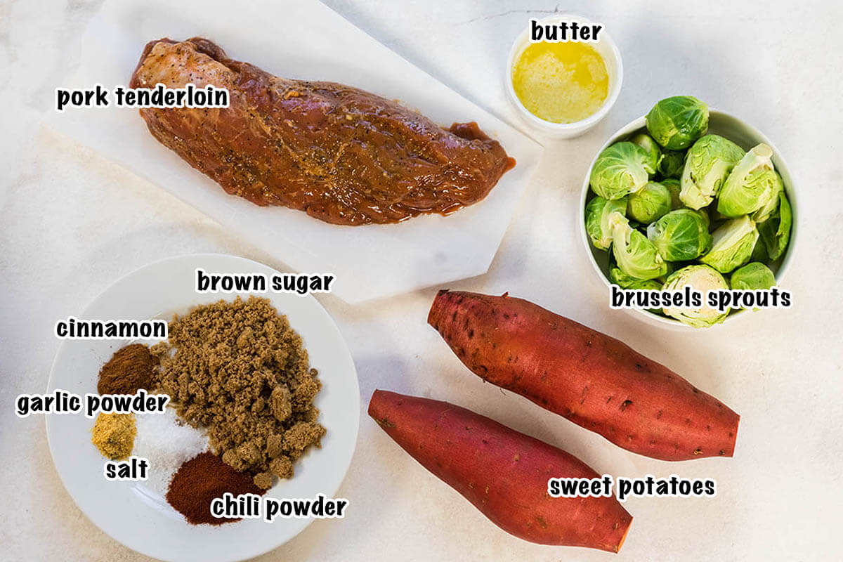 Ingredients for pork tenderloin and sweet potato recipe