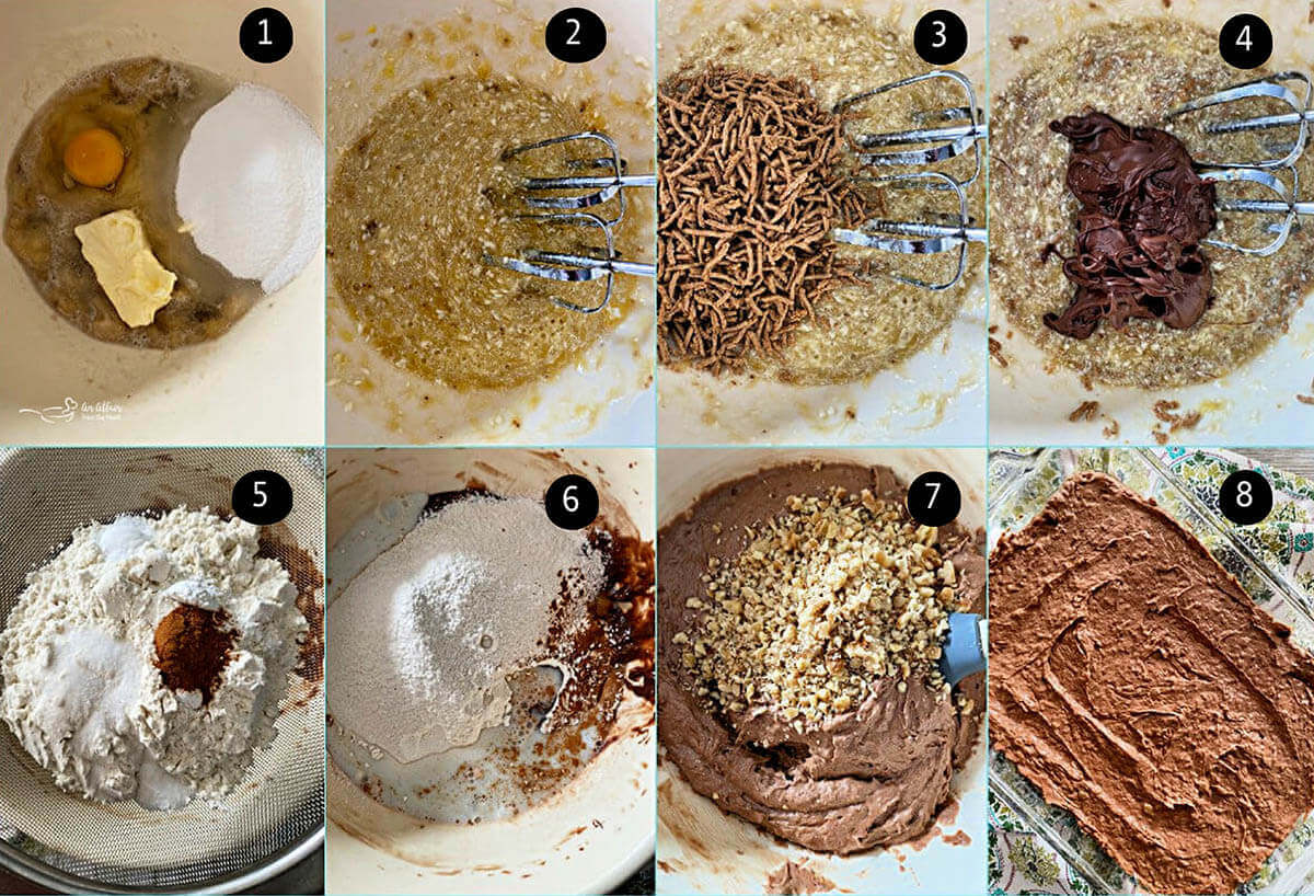 Step by step photos showing how to make chocolate banana bar recipe