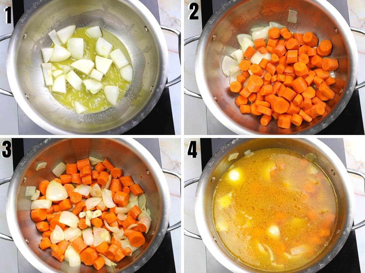 A collage of 4 photos showing how to make this recipe.