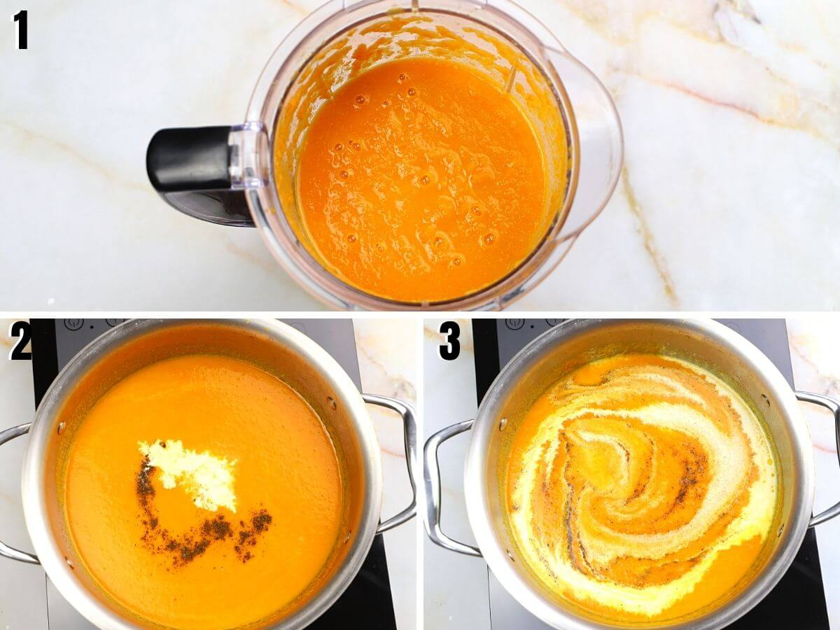 A collage of 3 photos showing how to blend carrot soup and adding spices.