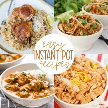 A collage with photos of easy instant pot recipes with a Pinterest overlay.