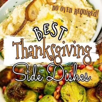 Mashed Potatoes and Sprouts with Pinterest overlay Best Thanksgiving Side Dishes