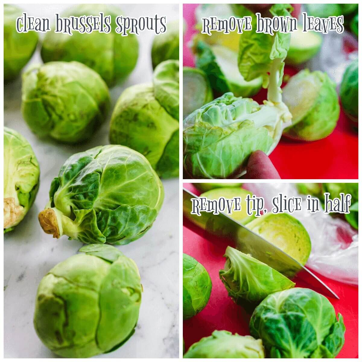 Collage with images showing how to clean Brussels sprouts
