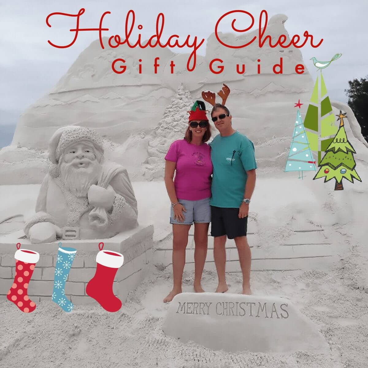 Deb & Dan with Santa Sculpture with Holiday Cheer Gift Guide Overlay