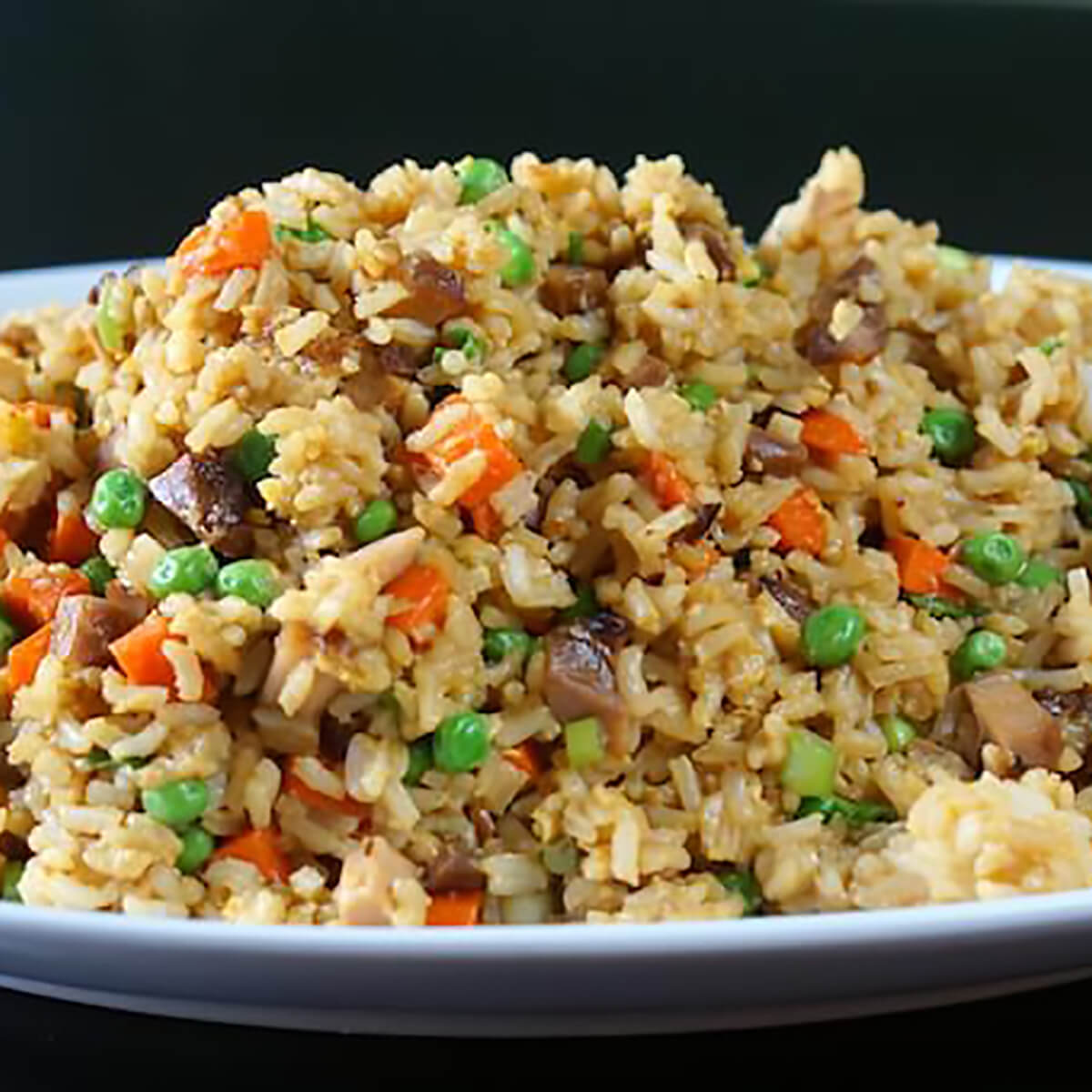 Chicken Fried Rice on a white platter.