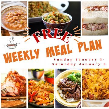 Photos of weekly meal plan for Jan 3-9 with print overlay.