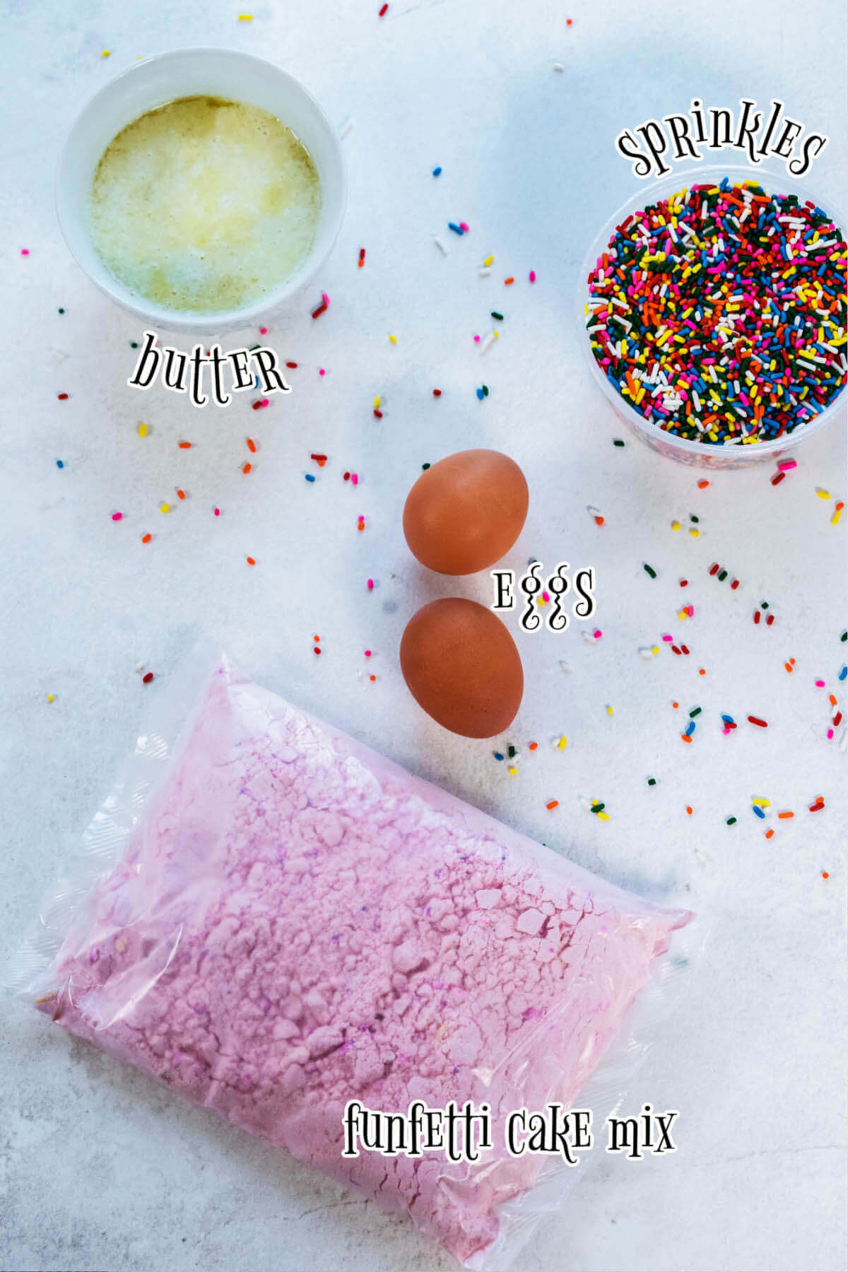 Ingredients laid out for Strawberry Cake Mix Cookies