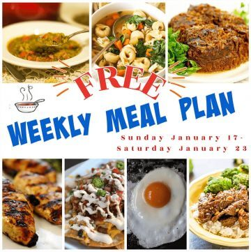 A collage of photos for weekly meal plan January 17-23