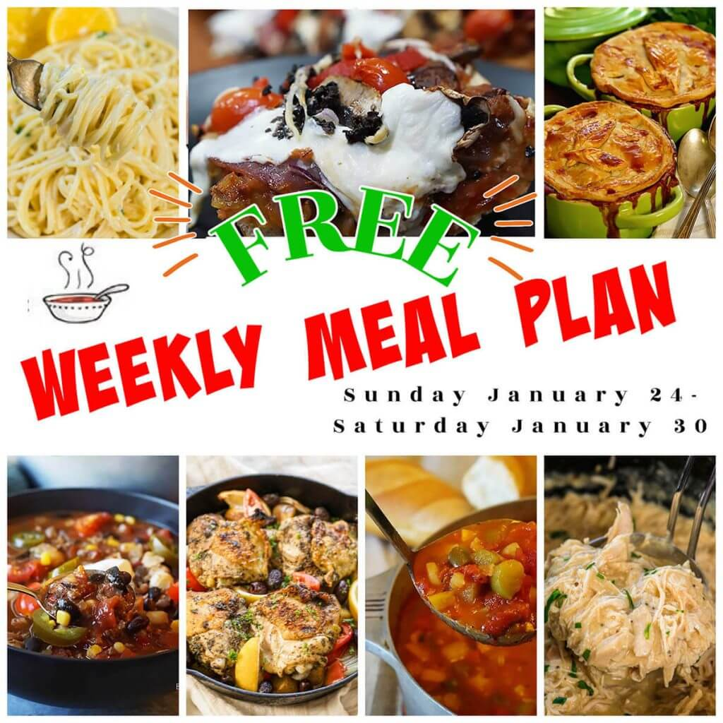A collage of photos showing weekly meal plan 4