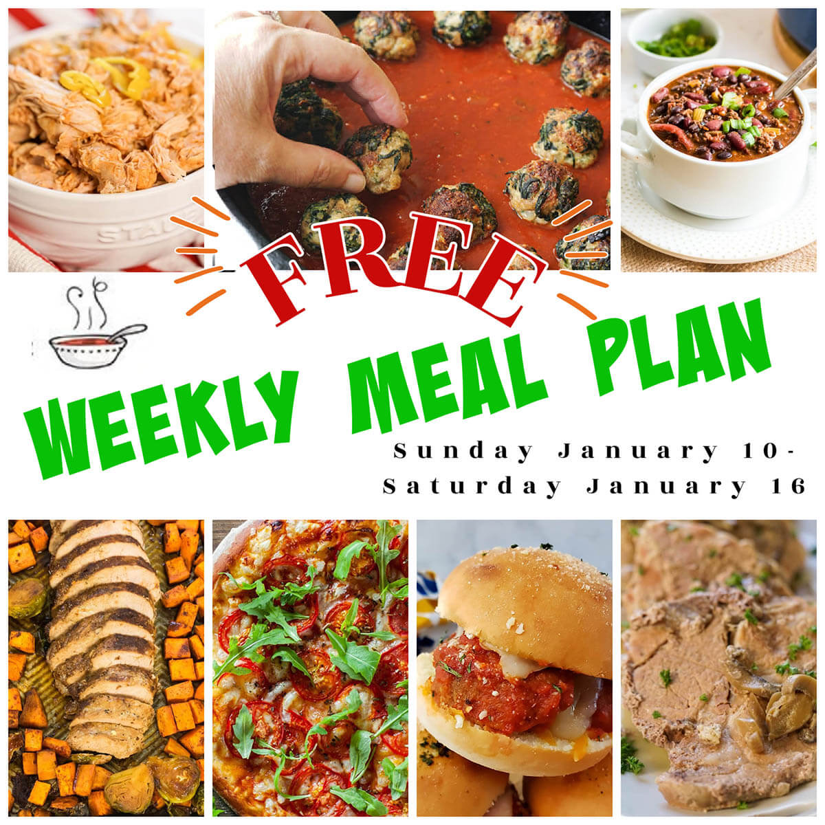 Collage of recipe photos for weekly meal plan