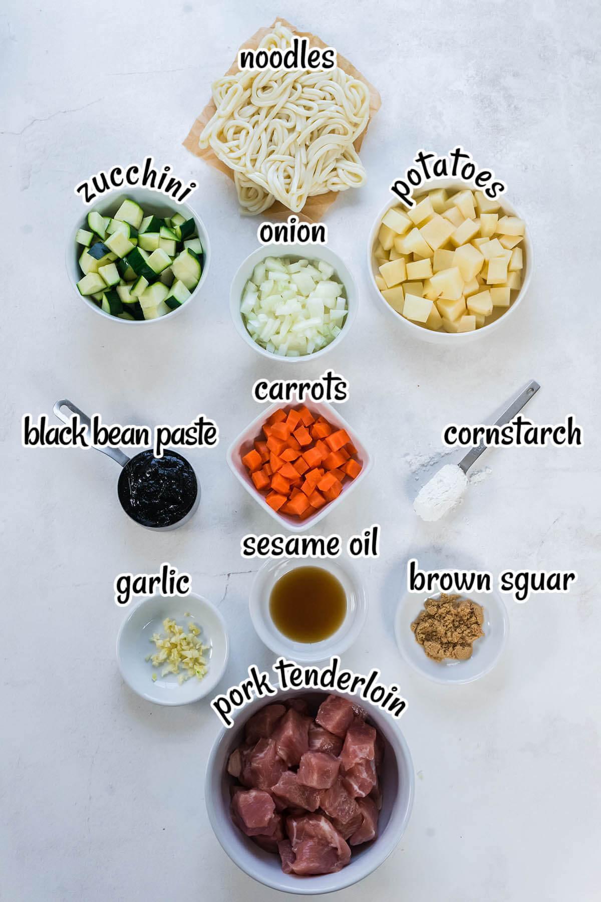 All of the ingredients needed to make Jjajangmyeon, Korean Black Noodles.