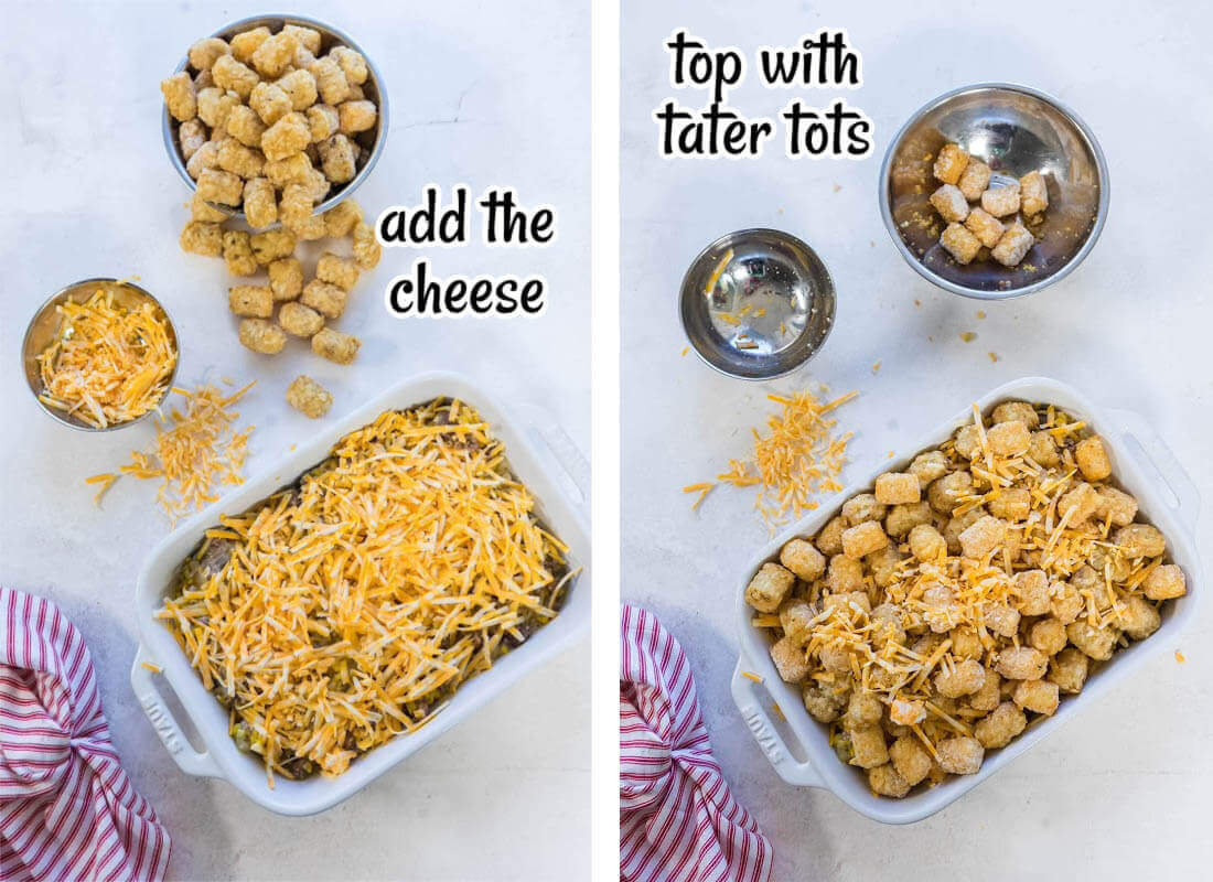 Photos of the final two steps to make tater tot casserole. With print overlay.