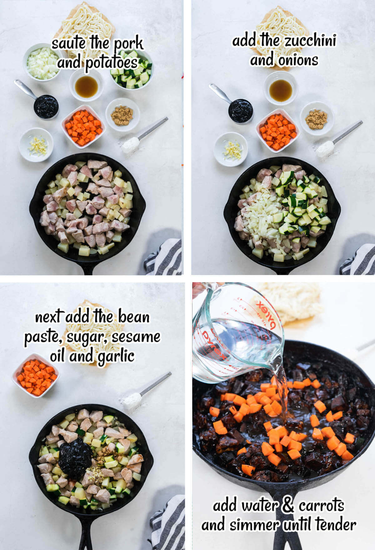 Step by step instructions showing how to make Jjajangmyeon.