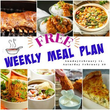 Collage of recipes for weekly meal plan.
