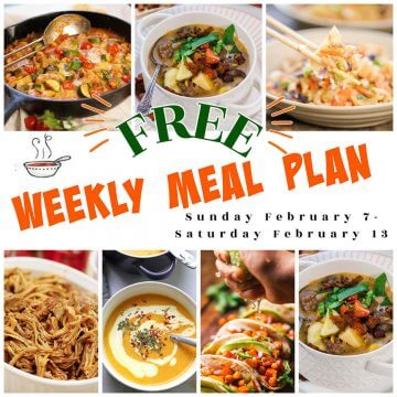 Collage of photos showing weekly meal plan for February 7-13th.