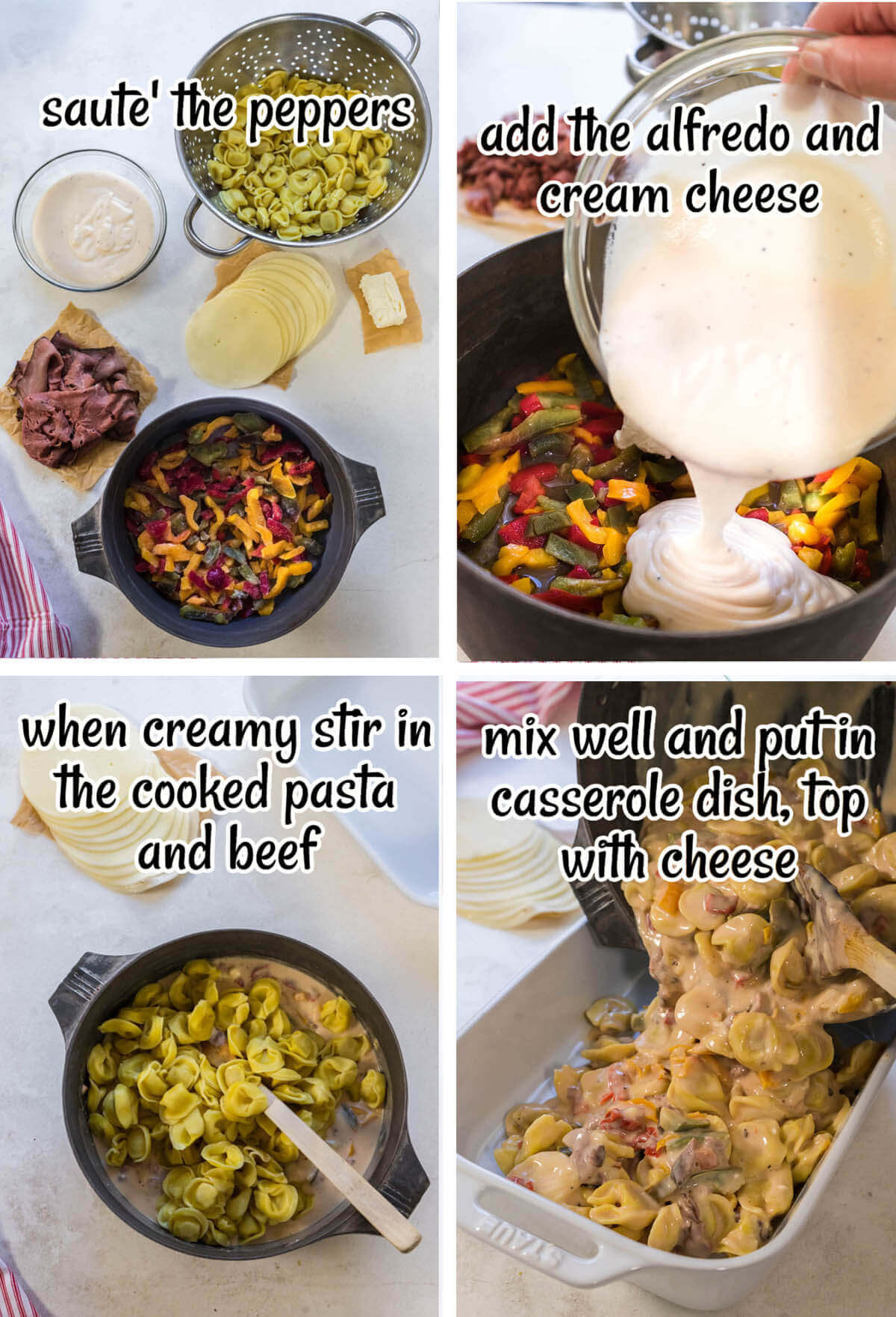 Step by step instructions to make the pasta casserole.