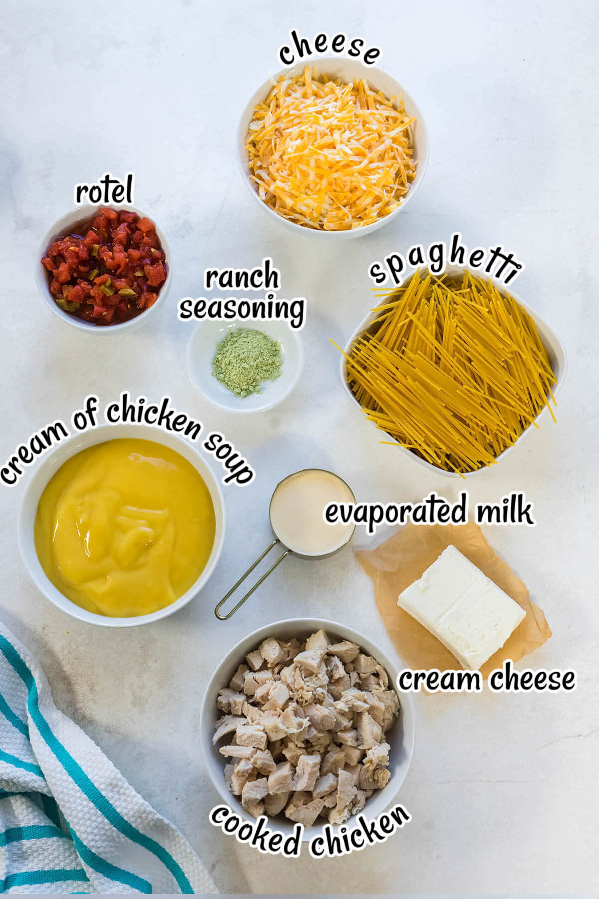 A photograph of the ingredients needed for Chicken Spaghetti with rotel with print overlay.