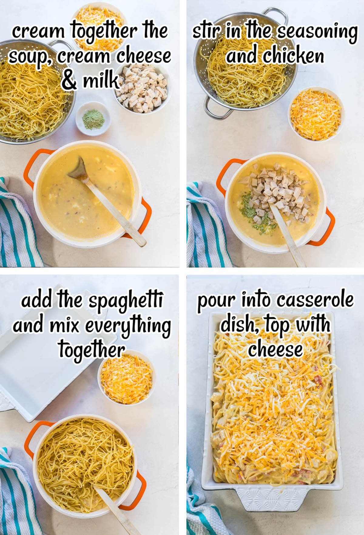Step by step photos showing how to make spicy chicken pasta.