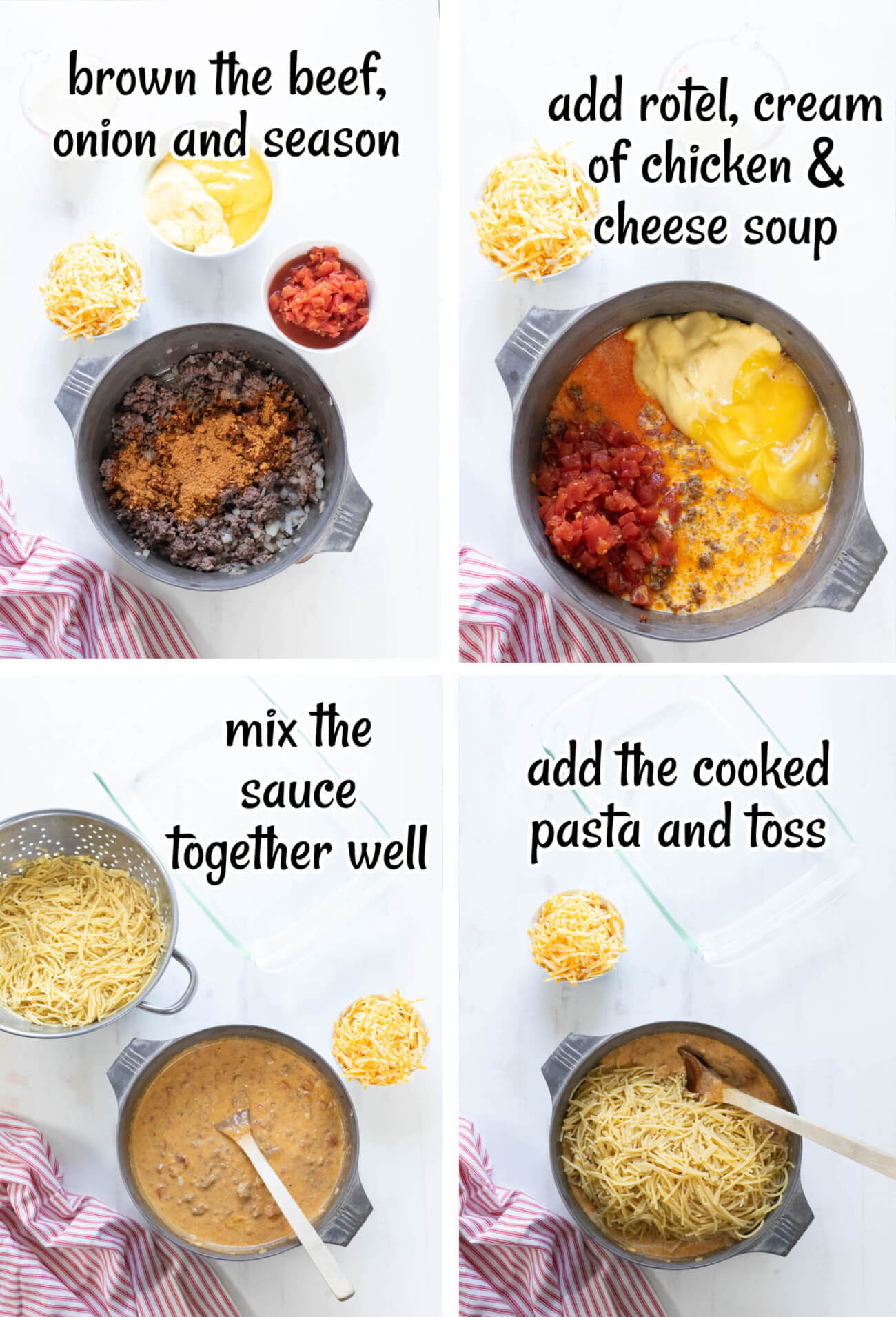 photo collage showing the first four steps to make taco spaghetti recipe.