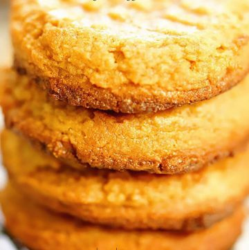 A stack of 4 ingredient peanut butter cookies.