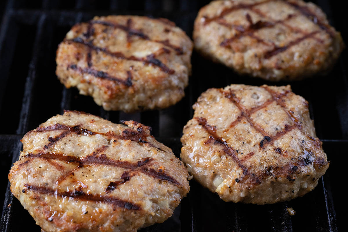 Turkey burgers ready to come off the grill.