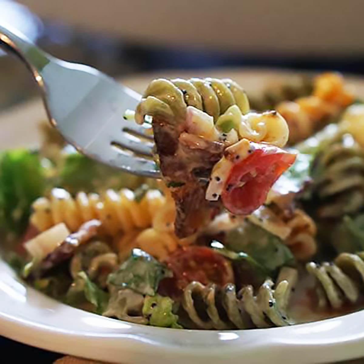 BLT Pasta Salad on plate.