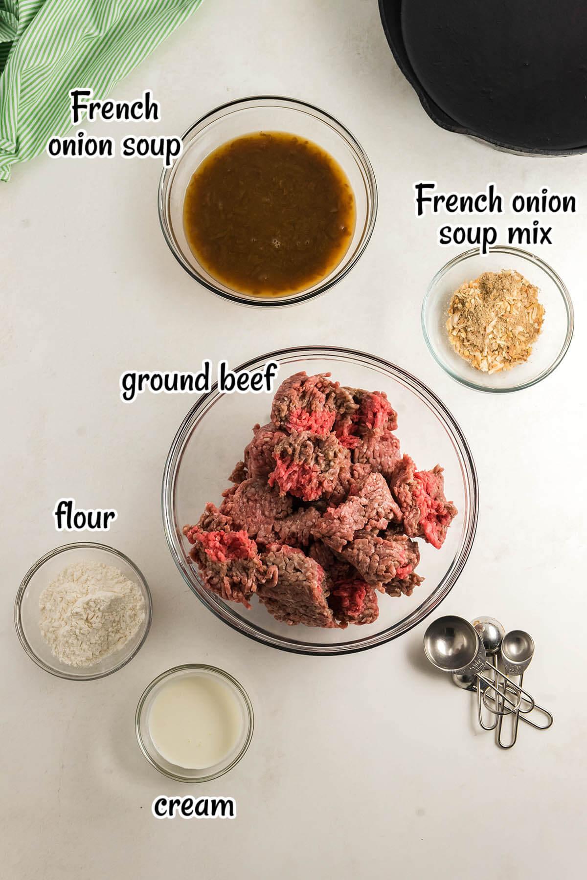 Ingredients for Salisbury Steak Recipe with print overlay.