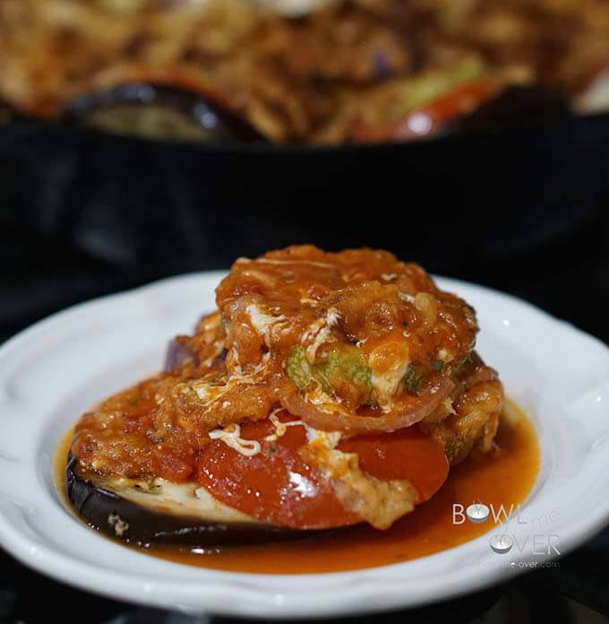 Vegetable Casserole with a serving dished up on a plate.