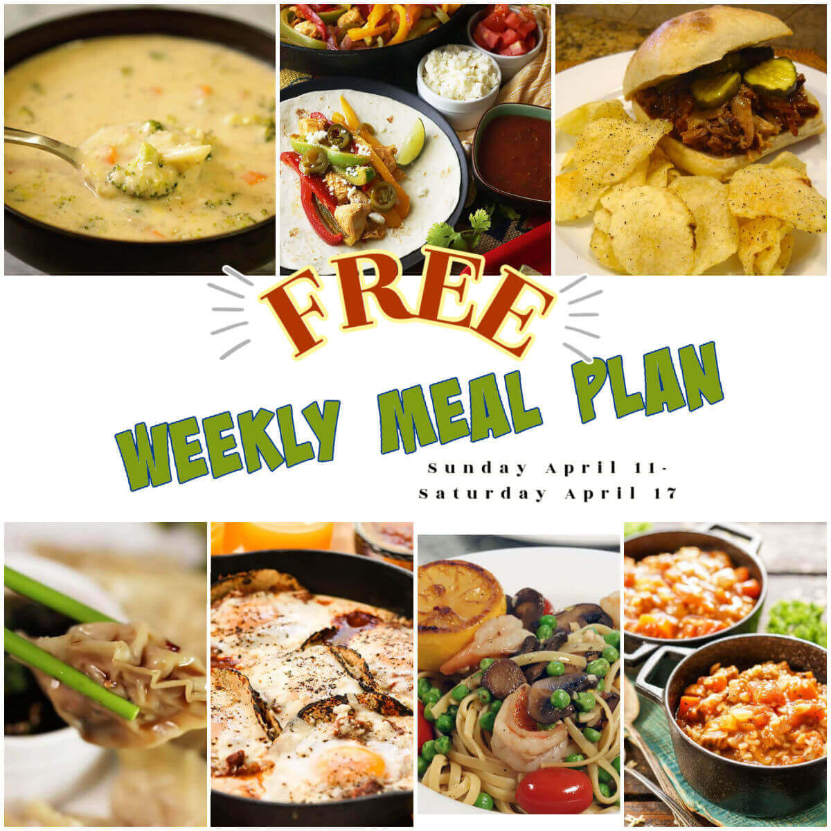 Photo of recipes included in the weekly meal plan, with print overlay.