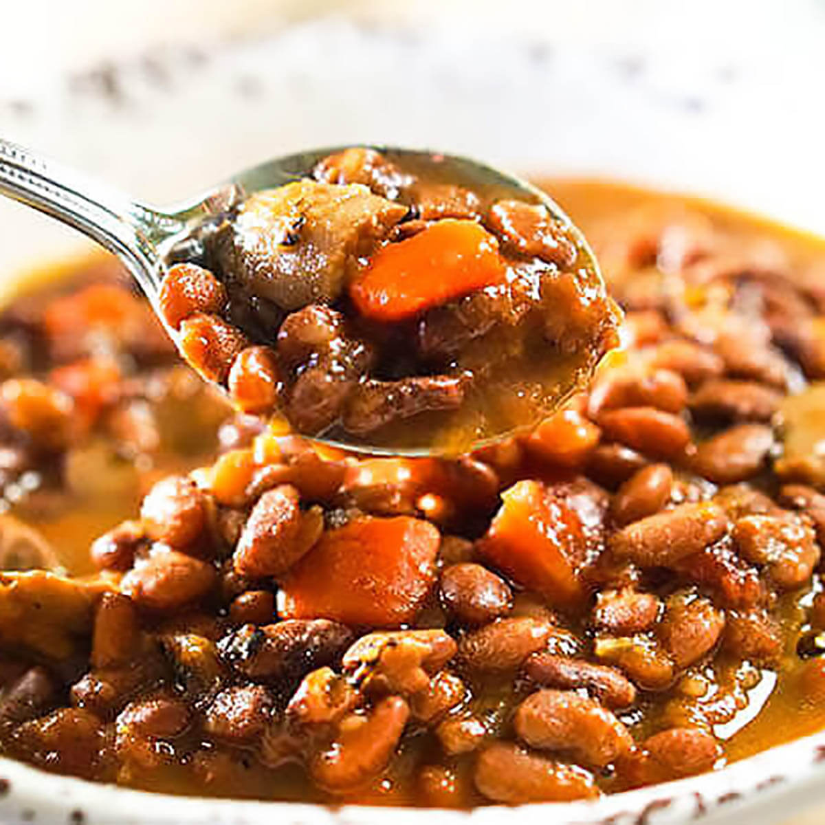 Brown Bean Soup in bowl with spoon.