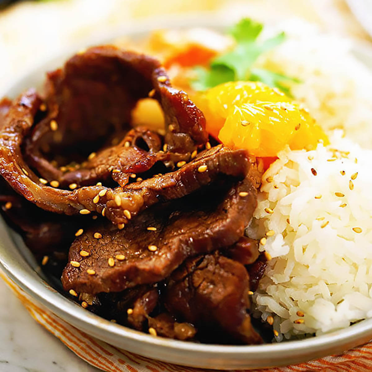 Korean BBQ Beef in bowl with rice.