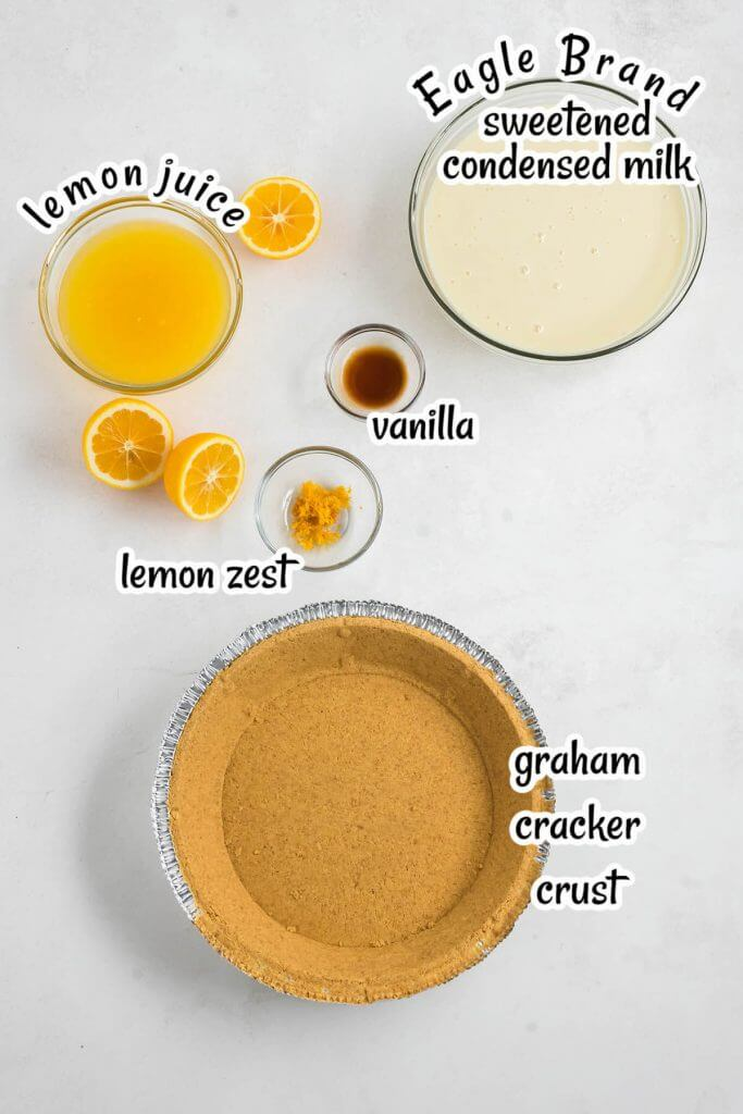Ingredients showing how to make no bake pie recipe, with print overlay.