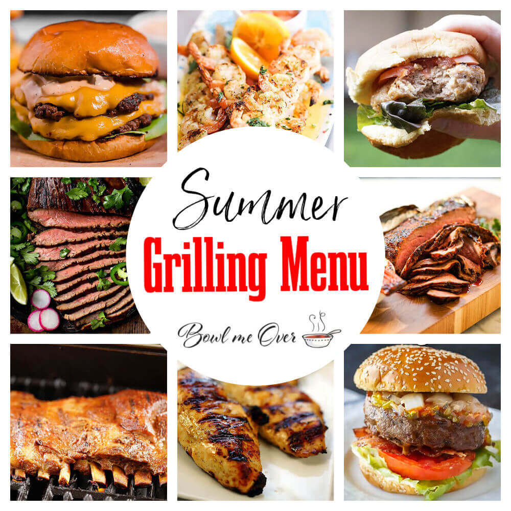 A photo collage of summer grilling menu.