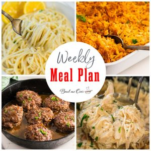 Collage of photos of food for Weekly Meal Plan.