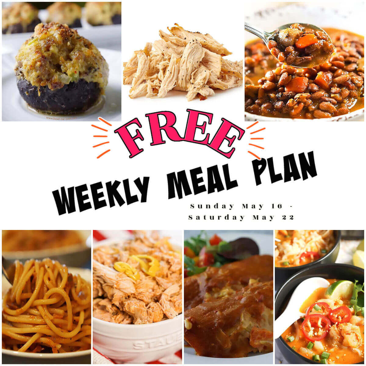 Weekly Meal Plan Collage with photos of recipes. With Print overlay.
