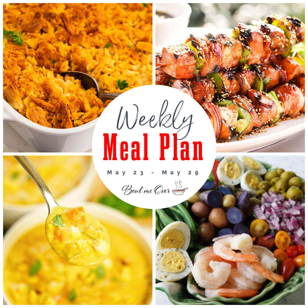 Collage of photos for Weekly Meal Plan 21 May 23-29 with print overlay.