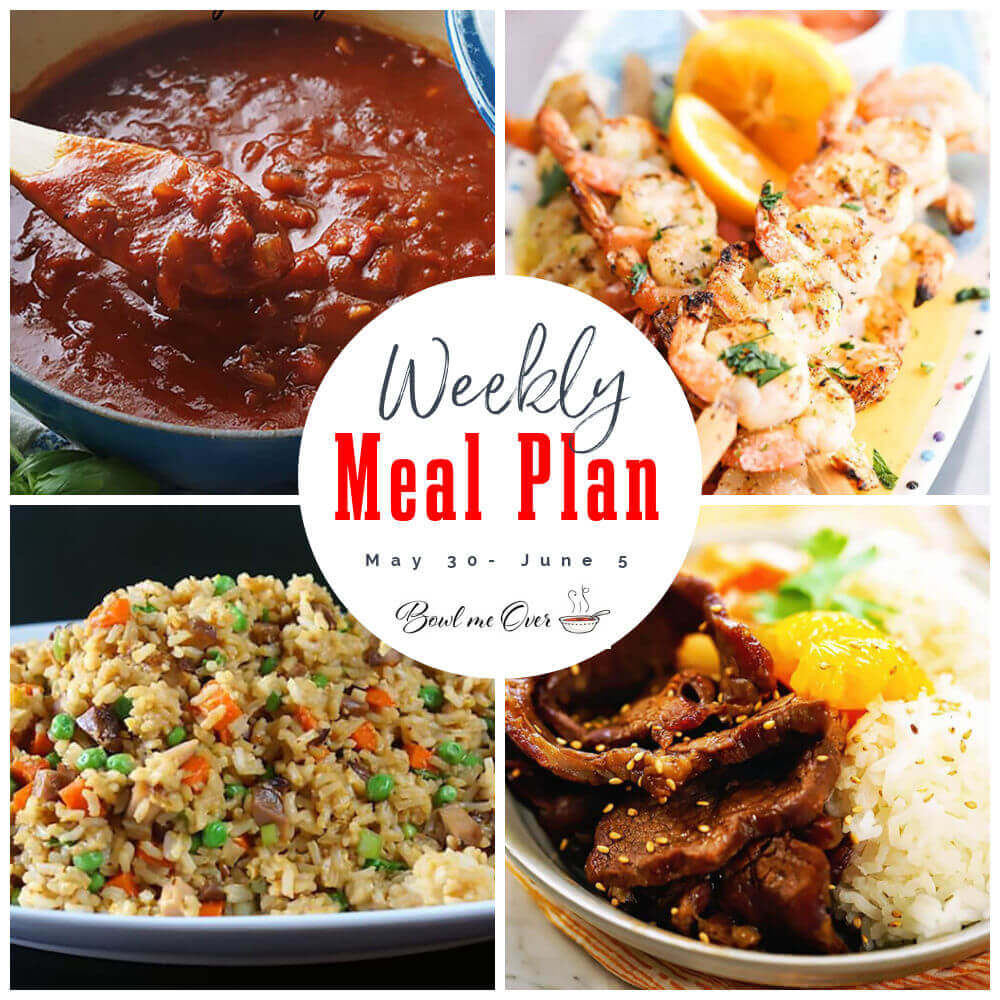 Collage of photos showing meals for weekly meal plan for May 30 -June 5.