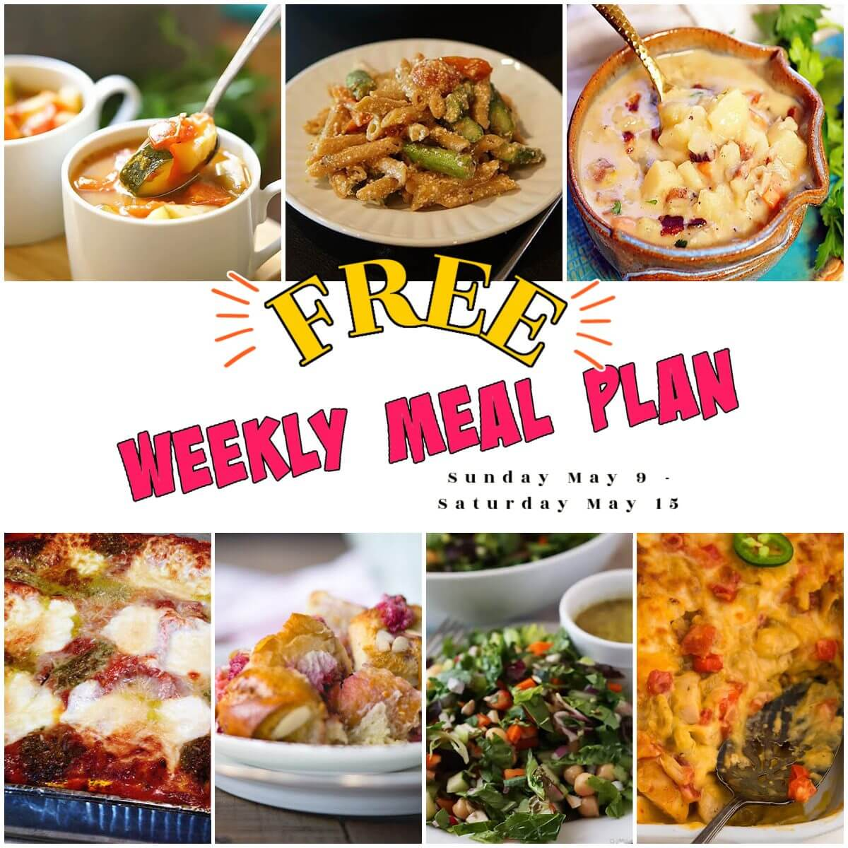 Weekly 19 meal plan photo collage, with print overlay.