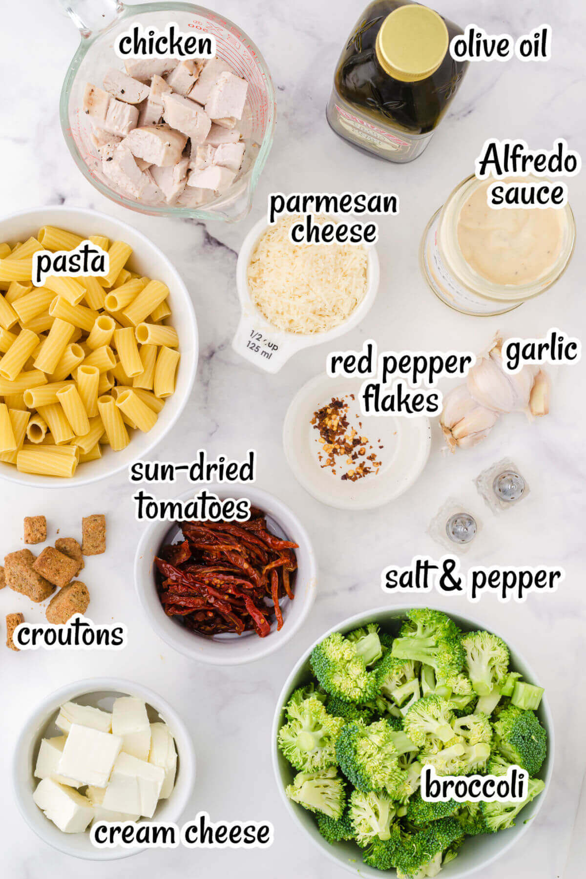 Photo of ingredients needed to make broccoli chicken pasta recipe. With print overlay.