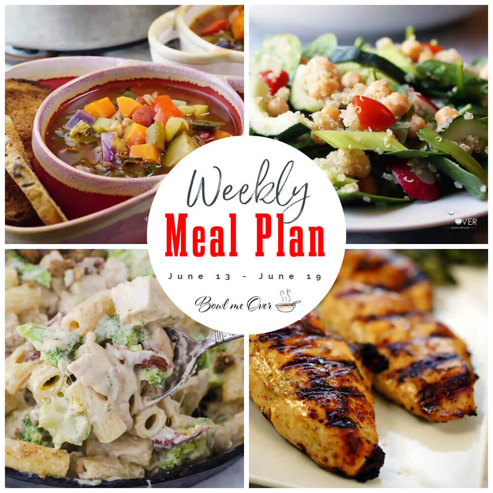Collage of photos for weekly meal plan June 13-19, with print overlay.