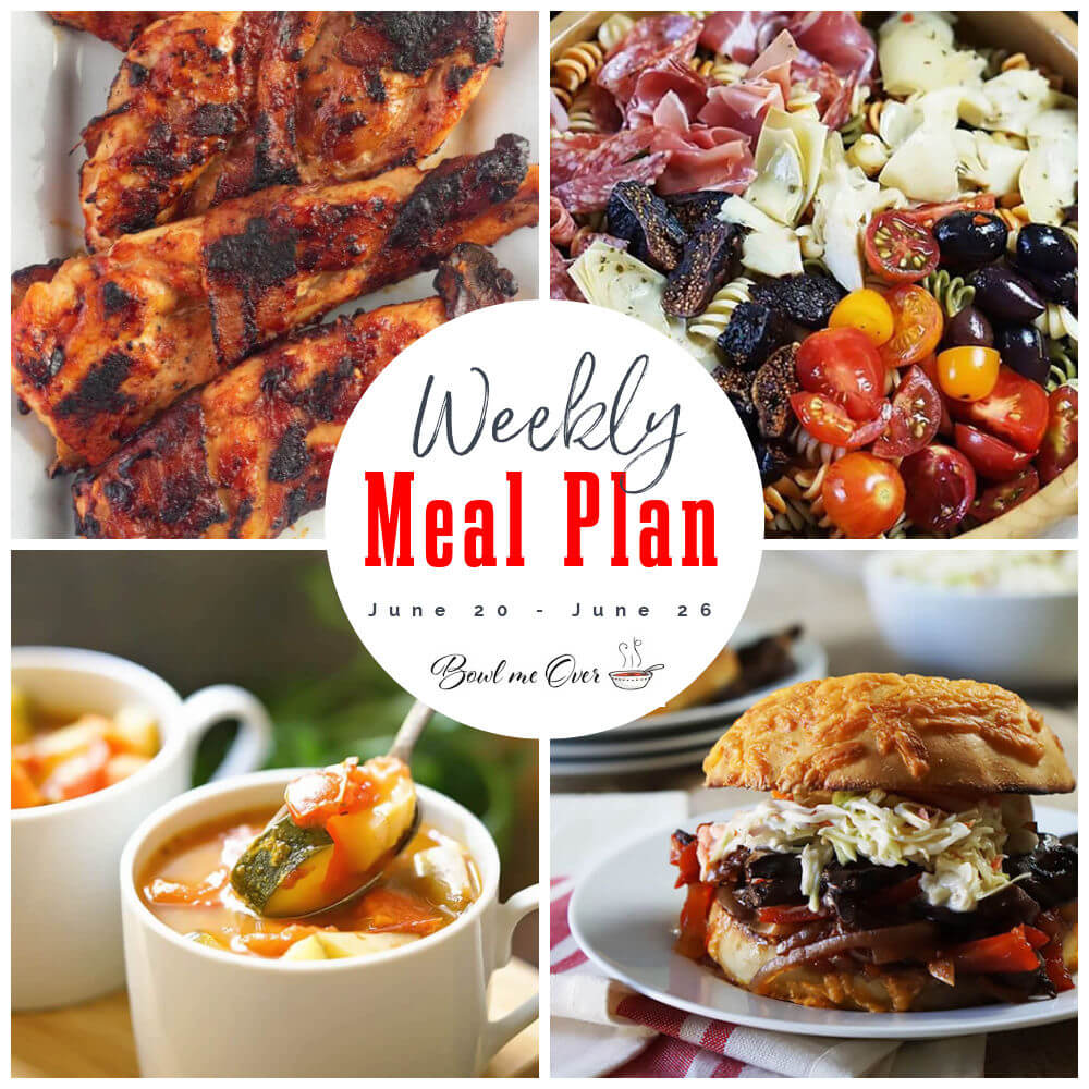 Weekly Meal Plan 25 Photo collage with Print overlay.
