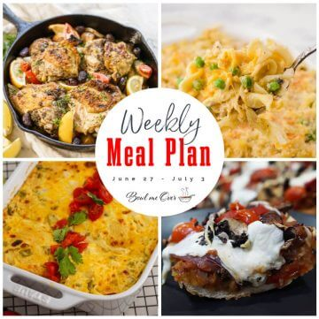 Photo collage of weekly meal plan 26, with print overlay.