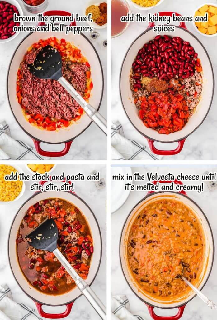 Step by step photos showing how to make Chili Mac n Cheese. With print overlay.