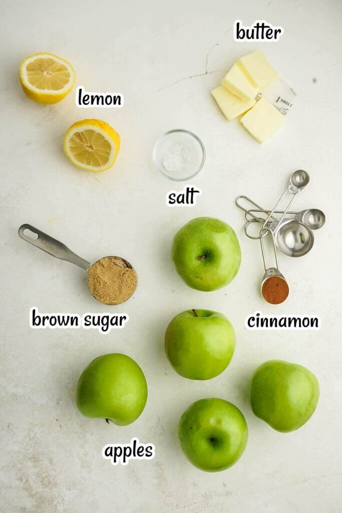 Photo of the ingredients needed to make Cracker Barrel Fried Apples.