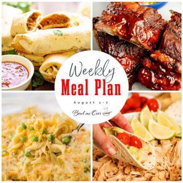 Collage of photos for Weekly Meal plan 30, with print overlay.
