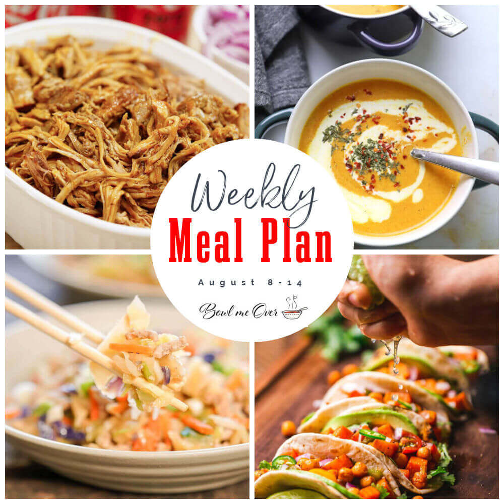 Photo collage of Weekly Meal Plan 31 for Aug 8-14, with Pinterest overlay.
