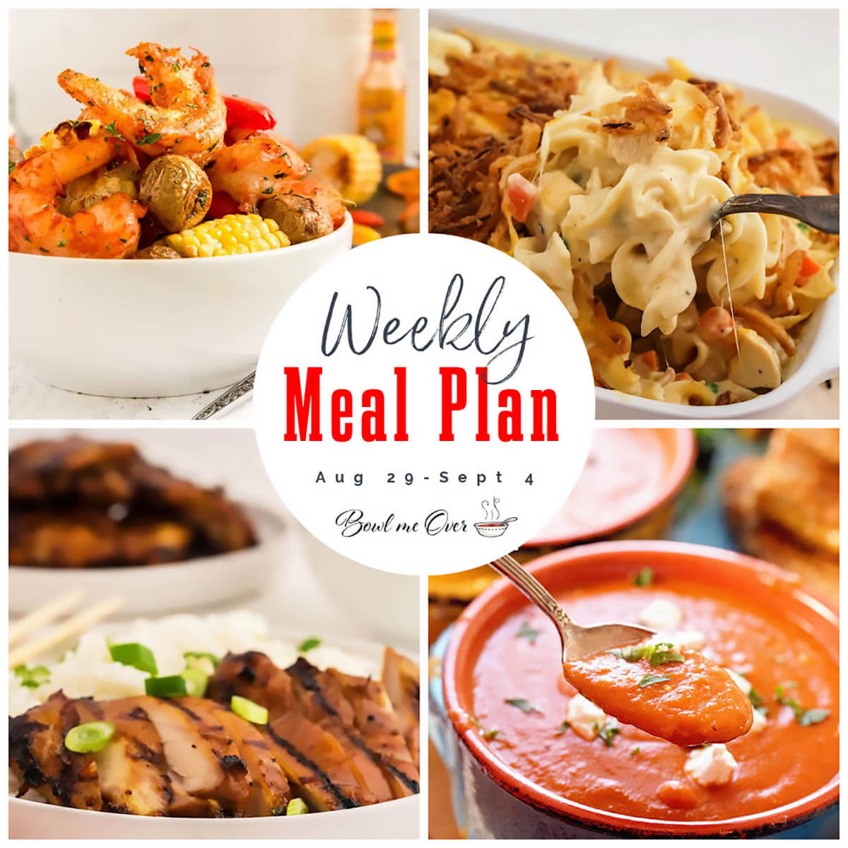 Weekly Meal Plan 33 photo collage with print overlay.